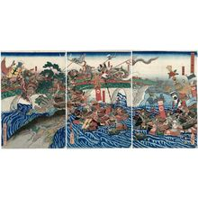 Utagawa Yoshitsuna: Empress Jingû Attacks the Three Korean Kingdoms (Jingû Kôgô Sankan seibatsu no zu) - ボストン美術館