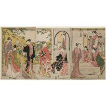 鳥居清長: A Modern Version of the Story of Ushiwakamaru Serenading Jôruri-hime - ボストン美術館