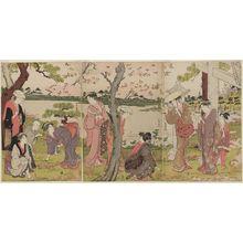 勝川春潮: Gathering Spring Flowers by the Pond of the Twelve Kumano Shrines at Tsunohazu - ボストン美術館