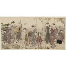 勝川春潮: Courtesans and Attendants Viewing Iris at Yatsuhashi: from right, Mayuzumi of the Daimonjiya, kamuro Shigeki and Naname; Shizuka of the Tamaya, kamuro Hanano and Tomeki; Yûbae of the Ôgiya, kamuro Wakaba and Kaide - ボストン美術館