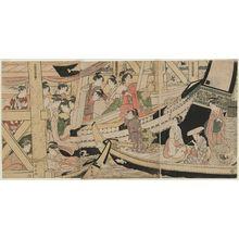 Eishosai Choki: Pleasure Boats at Ryôgoku Bridge (Ryôgoku-bashi suzumebune no zu) - Museum of Fine Arts