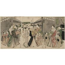 Hosoda Eishi: Courtesans at the Great Gate of the Yoshiwara, from right: Utaura of the Kado-Tamaya, kamuro Hanaki and Chidori; Misayama of the Chôjiya, kamuro Wakaba and Teriha; Shinowara of the Tsuruya, kamuro Takeno and Sasano - Museum of Fine Arts