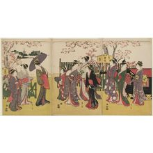 Hosoda Eishi: Women Viewing Cherry Blossoms at Kinryûzan Temple in Asakusa - Museum of Fine Arts