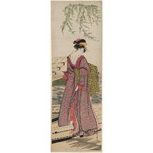 Utagawa Toyohiro: Young Woman Boarding a Roofed Boat - Museum of Fine Arts