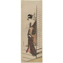 Utagawa Toyohiro: Young Woman Carrying a Candle - Museum of Fine Arts
