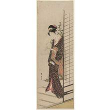 Utagawa Toyohiro: Young Woman Carrying a Candle - Museum of Fine Arts