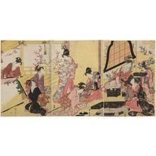 Utagawa Toyohiro: Women Making an Oshi-e Picture - Museum of Fine Arts