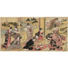 Utagawa Toyohiro: Young Man Painting Fans for Ladies - Museum of Fine Arts
