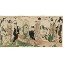 Chokosai Eisho: Women Playing Music on a Boat - Museum of Fine Arts