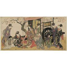 喜多川歌麿: Parody of an Imperial Carriage Scene - ボストン美術館