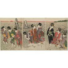 喜多川歌麿: Women on the Beach at Futami-ga-ura - ボストン美術館