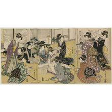 Kitagawa Utamaro: Wedding Scene, a Triptych (Konrei no zu, sanmai tsuzuki) - Museum of Fine Arts