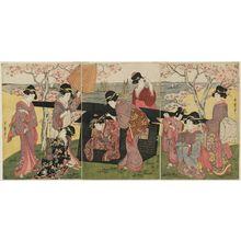 喜多川歌麿: Cherry-blossom Viewing at Goten-yama - ボストン美術館