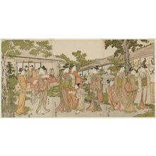 Utagawa Toyokuni I: Garden of the Bird-and-flower Teahouse (Kachô chaya) - Museum of Fine Arts