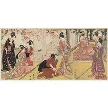 Utagawa Toyokuni I: Ladies Practicing Martial Arts (Opening Scene of the Play Mirror Mountain) - Museum of Fine Arts