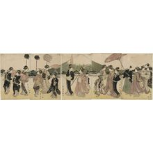 歌川豊国: Women Imitating a Daimyo Procession Passing Mount Fuji - ボストン美術館
