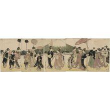 Utagawa Toyokuni I: Women Imitating a Daimyo Procession Passing Mount Fuji - Museum of Fine Arts