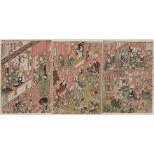 歌川国貞: The Dressing Rooms of the Nakamura Theater in Sakai-chô, a Triptych (Sakai-chô Nakamura-za gakuya no zu, sanmaitsuzuki) - ボストン美術館