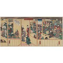 Utagawa Kunisada: Backstage and Dressing Rooms (Odori keiyô gakuya no zu) - Museum of Fine Arts