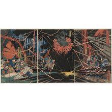 Utagawa Kuniyoshi: During the Visit of Kiyomori to the Nunobiki Waterfall, the Ghost of Akugenda Yoshihira Strikes Down Nanba Jirô (Kiyomori nyûdô Nunobiki no taki yûran Akugenda Yoshihira no rei Nanba Jirô o utsu) - Museum of Fine Arts