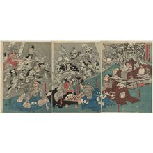 Utagawa Kuniyoshi: The Earth Spider Generates Monsters at the Mansion of Lord Minamoto Yorimitsu (Minamoto Yorimitsu [Raikô] kô no yakata ni tsuchigumo yôkai o nasu zu) - Museum of Fine Arts