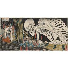 歌川国芳: In the Ruined Palace at Sôma, Masakado's Daughter Takiyasha Uses Sorcery to Gather Allies (Sôma no furudairi ni Masakado himegimi Takiyasha yôjutsu o motte mikata o atsumuru) - ボストン美術館