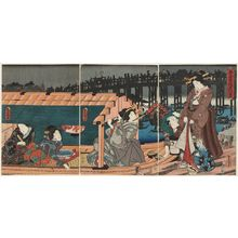 Utagawa Kunisada: Scene of Enjoying the Evening Cool at Azuma Bridge (Azuma-bashi yûsuzumi kei) - Museum of Fine Arts