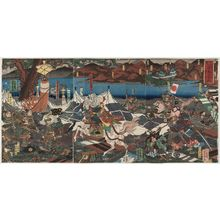 Utagawa Yoshikazu: The Great Battle between Kai and Echigo Provinces at Kawanakajima, on the 10th Day of the 9th Month, 1561, Hachiman... (Eiroku yonen kugatsu tôka, Kôetsu Kawanakajima ôgassen, Hachiman...) - Museum of Fine Arts