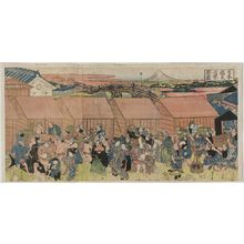 Utagawa Kuniyasu: Prosperity of the Fish Market at Nihon-bashi (Nihon-bashi uoichi han'ei zu) - Museum of Fine Arts