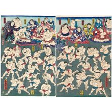 Utagawa Kuniaki: Sumô Wrestlers Practicing - Museum of Fine Arts
