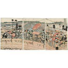 Harukawa Eishô: Procession of Girls on Edo Bridge, the Best in Japan (Nippon ichi Edo-bashi musume gyôretsu no zu) - ボストン美術館
