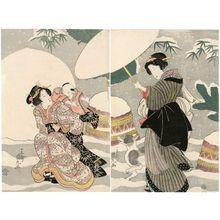 Utagawa Kunimaru: Women, Child, and Dog in Snow - ボストン美術館