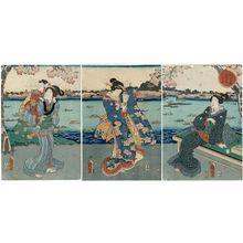 Utagawa Kuniaki: Viewing Cherry Blossoms at Mukôjima (Mukôjima hanami no zu) - Museum of Fine Arts