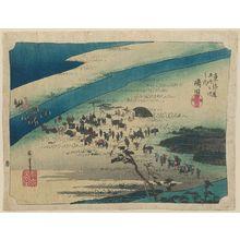 Utagawa Hiroshige: Shimada: The Suruga Bank of the Ôi River (Shimada, Ôigawa Sungan), from the series Fifty-three Stations of the Tôkaidô Road (Tôkaidô gojûsan tsugi no uchi), also known as the First Tôkaidô or Great Tôkaidô - Museum of Fine Arts