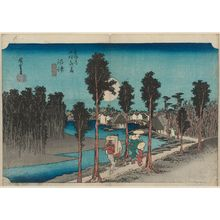 歌川広重: Numazu: Twilight (Numazu, tasogare zu), from the series Fifty-three Stations of the Tôkaidô Road (Tôkaidô gojûsan tsugi no uchi), also known as the First Tôkaidô or Great Tôkaidô - ボストン美術館