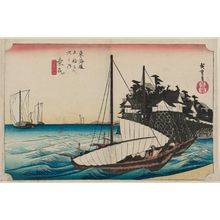 Utagawa Hiroshige: Kuwana: Shichiri Crossing (Kuwana, Shichiri watashiguchi), from the series Fifty-three Stations of the Tôkaidô (Tôkaidô gojûsan tsugi no uchi), also known as the First Tôkaidô or Great Tôkaidô - Museum of Fine Arts