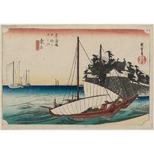 歌川広重: Kuwana: Shichiri Crossing (Kuwana, Shichiri watashiguchi), from the series Fifty-three Stations of the Tôkaidô (Tôkaidô gojûsan tsugi no uchi), also known as the First Tôkaidô or Great Tôkaidô - ボストン美術館