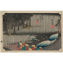Utagawa Hiroshige: Tsuchiyama: Spring Rain (Tsuchiyama, haru no ame), from the series Fifty-three Stations of the Tôkaidô Road (Tôkaidô gojûsan tsugi no uchi), also known as the First Tôkaidô or Great Tôkaidô - Museum of Fine Arts