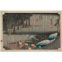 歌川広重: Tsuchiyama: Spring Rain (Tsuchiyama, haru no ame), from the series Fifty-three Stations of the Tôkaidô Road (Tôkaidô gojûsan tsugi no uchi), also known as the First Tôkaidô or Great Tôkaidô - ボストン美術館