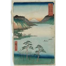 Utagawa Hiroshige: Lake Suwa in Shinano Province (Shinshû Suwa no mizuumi), from the series Thirty-six Views of Mount Fuji (Fuji sanjûrokkei) - Museum of Fine Arts