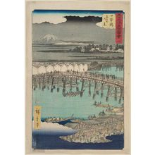 Utagawa Hiroshige: No. 1, Nihonbashi: View of Dawn Clouds (Nihonbashi, Shinonome no kei), from the series Famous Sights of the Fifty-three Stations (Gojûsan tsugi meisho zue), also known as the Vertical Tôkaidô - Museum of Fine Arts