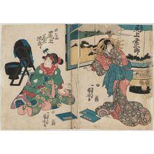 歌川国芳: Actors Onoe Eizaburô as Miyagino (R) and Onoe Kikujirô as the Younger Sister (Imôto) Shinobu (L) - ボストン美術館
