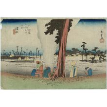 Utagawa Hiroshige: Hamamatsu: Winter Scene (Hamamatsu, fuyugare no zu), from the series Fifty-three Stations of the Tôkaidô (Tôkaidô gojûsan tsugi no uchi), also known as the First Tôkaidô or Great Tôkaidô - Museum of Fine Arts