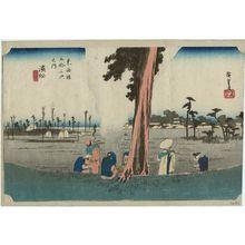 歌川広重: Hamamatsu: Winter Scene (Hamamatsu, fuyugare no zu), from the series Fifty-three Stations of the Tôkaidô (Tôkaidô gojûsan tsugi no uchi), also known as the First Tôkaidô or Great Tôkaidô - ボストン美術館