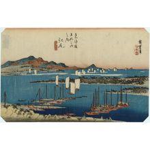 歌川広重: Ejiri: Distant View of Miho (Ejiri, Miho enbô), from the series Fifty-three Stations of the Tôkaidô Road (Tôkaidô gojûsan tsugi no uchi), also known as the First Tôkaidô or Great Tôkaidô - ボストン美術館