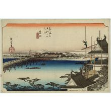 歌川広重: Yoshida: The Toyokawa River Bridge (Yoshida, Toyokawabashi), from the series Fifty-three Stations of the Tôkaidô Road (Tôkaidô gojûsan tsugi no uchi), also known as the First Tôkaidô or Great Tôkaidô - ボストン美術館