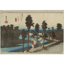 Utagawa Hiroshige: Numazu: Twilight (Numazu, tasogare zu), from the series Fifty-three Stations of the Tôkaidô Road (Tôkaidô gojûsan tsugi no uchi), also known as the First Tôkaidô or Great Tôkaidô - Museum of Fine Arts