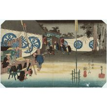 Utagawa Hiroshige: Seki: Early Departure of a Daimyô (Seki, honjin hayadachi), from the series Fifty-three Stations of the Tôkaidô Road (Tôkaidô gojûsan tsugi no uchi), also known as the First Tôkaidô or Great Tôkaidô - Museum of Fine Arts
