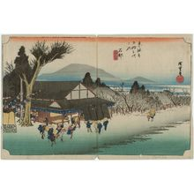 歌川広重: Ishibe: Megawa Village (Ishibe, Megawa no sato), from the series Fifty-three Stations of the Tôkaidô (Tôkaidô gojûsan tsugi no uchi), also known as the First Tôkaidô or Great Tôkaidô - ボストン美術館