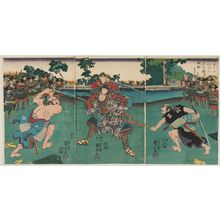 歌川国芳: Satô Masakiyo Defeats Two Drunken Rônin as Fierce as Tigers (Satô Masakiyo suikyô no rônin ryôko no yû o torihishigu zu) - ボストン美術館